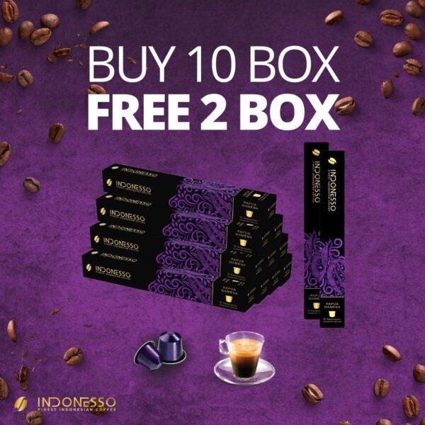 promo papua wamena coffee capsule on purple background