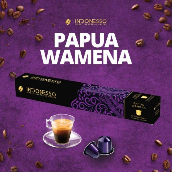 papua wamena coffee capsule on purple background