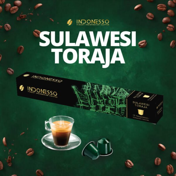 sulawesi toraja coffee capsule on green background